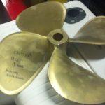 4 blade prop brass CROT 129 19LH17 1-3-8th bore michigan dyna quad